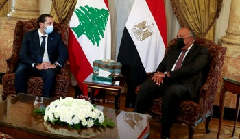 Egyptian Foreign Minister Sameh Shoukry meets with Lebanese Prime Minister-designate Saad al-Hariri at Tahrir Palace in Cairo, Egypt July 14, 2021.